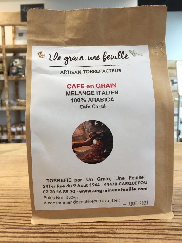 Café en grain Mélange Italien 100% arabica Café corsé (250g) 1